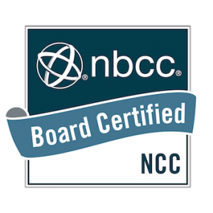 Board certified badge from the National Board for Certified Counselors